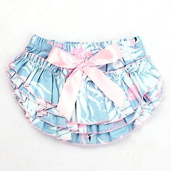 Newborn Baby Tutu Skirt- Cotton Bow Flamingo Print, Baby Photography Props 0-24