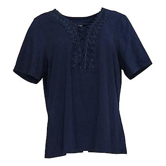Denim & Co. Women's Top Textured Knit Top with Lace Trim Blue A367908