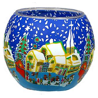 Kerzenfarm 11cm Glowing Glass, Snowy Village