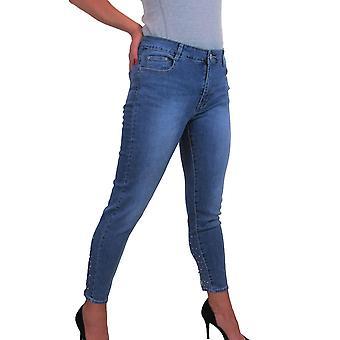 icecoolfashion Mujer 7/8 Recortado Tobillo Largo Estiramiento Vaqueros Con Diamante Stud Detalle Azul