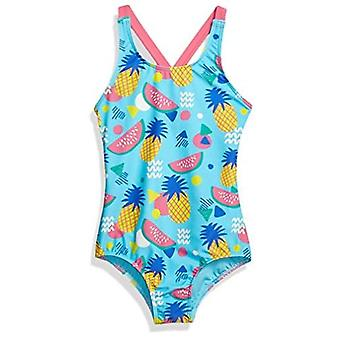 Brand - Spotted Zebra Toddler Girls' One-Piece Swimsuit, Aqua Pineapple, 2T