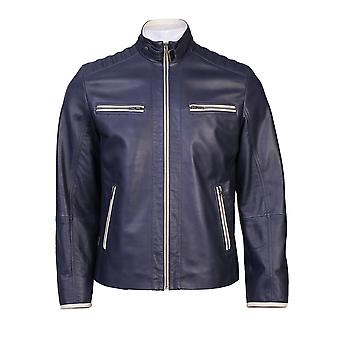 Colossal mens dual tone blue white leather jacket