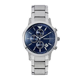 Armani Ar11164 Chronograph Silver And Blue Stainless Steel Men's Watch