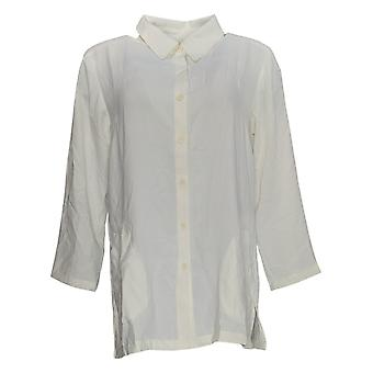 Linea Por Louis Dell'Olio Mujeres's Top Button Camisa Frontal Marfil A351412
