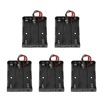 5pcs Black Battery Holder Box Container Two Wire Three Batteries Plastic