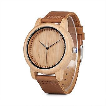BOBO FÅGEL C-A15 armbandsur casual stil läderrem trä kvarts klocka