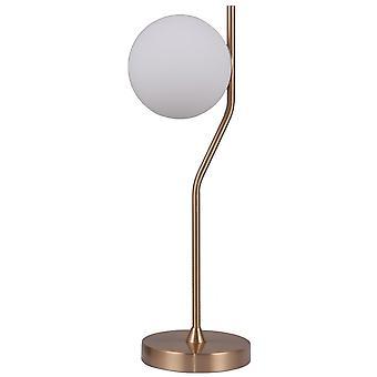 Italux Carimi - Lámpara de mesa moderna Honey Brass 1 Luz con sombra blanca, G9