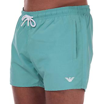 Men's Armani Embroidered Logo Swim Shorts in Turquoise