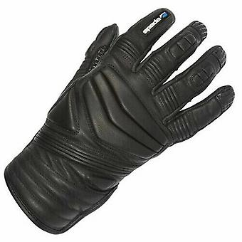 Spada Salt Flats Leather Motorcycle Gloves Black Touring Armoured Thermal