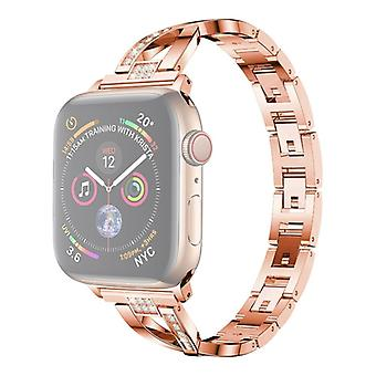 Colorful Diamond Stainless Steel Watchband for Apple Watch Series 5 & 4 44mm / 3 & 2 & 1 42mm(Rose Gold)