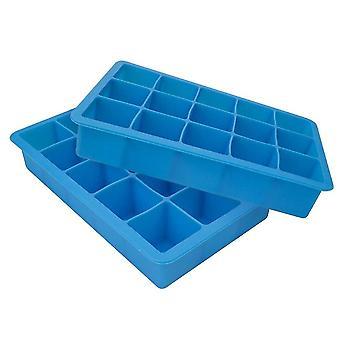 2KS 21.2x11.5x5cm 2inch 8grid námestie silikónová ľadová forma modrá bez krytu
