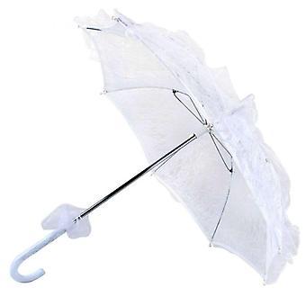 Mujeres estilo occidental boda floral encaje paraguas novia manual de apertura Fleur