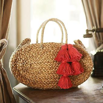 Oval Luna Straw Tote Bag - With Tassels