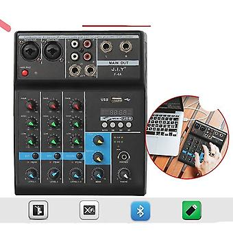 Professional 4 Channel Bluetooth Mixer - Audio Dj Console With Reverb