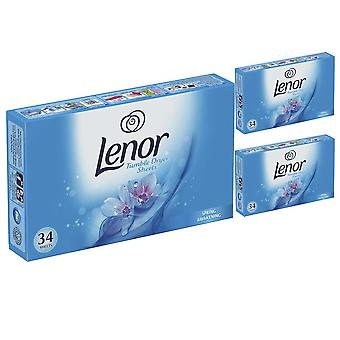 3 x 34 pack Lenor spring awakening tumble dryer sheets