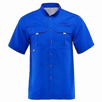 Summer Hombres camisas de pesca de manga corta, camisa de senderismo seco rápido
