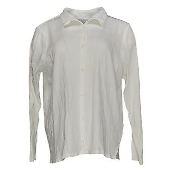 Anyone Women's Top Cozy Knit Collared Rib Button Front Blanc A367698