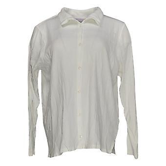 Chiunque donna top accogliente maglia colletto costola pulsante anteriore bianco A367698
