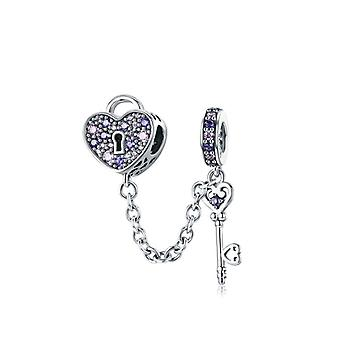 Real Sterling Silver Pave, Inspiration Safety Chain Charm With Clear Fit