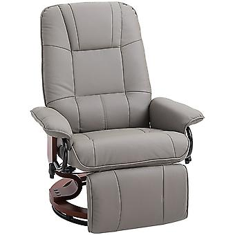 HOMCOM Manual Recliner Chair Armchair Sofa with Faux Leather Upholstered, Wood Base for Living Room Bedroom, Grey
