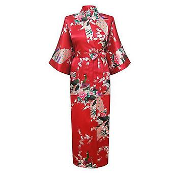 Long Robe Print Flower Peacock Kimono Bath Gown Bride Sleepwear