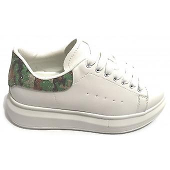 Women's Sneakers With Wedge Gold&gold White Faux Leather/ Camouflage Ds20gg07
