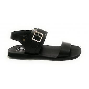 Men's Shoes Elite Sandalo Frate Leather Tread Bottom Black Color Us18el16
