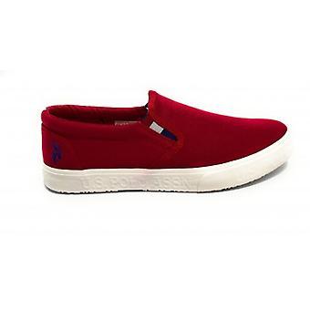 Shoes Us Polo Men's Slipon Mod. Joshua Canvas Vulcanized Red Us20up28