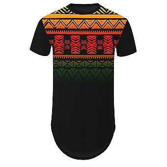 Allthemen Gradient Ethnic Style Striped 3D Printed Hem Arc Short-sleeved T-shirt
