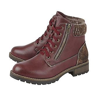 Lotus Emmeline Lace-Up Ankle Boots for Women  - Burgundy