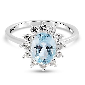 Blå Topaz Halo Ring Sterling Silver Jubilæum Gave White Zircon 2.08ct