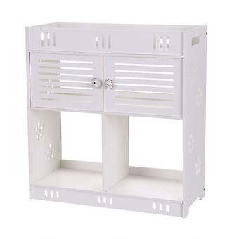 Non-perforated Pvc Hanging Wash Cabinet 3-layer Two Doors Wall Cupboard For Home Bathroom