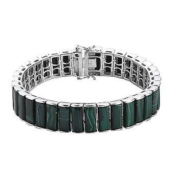 GP Malachite, Blue Sapphire Tennis Bracelet Size 7.5 in Sterling Silver 70.02 Ct