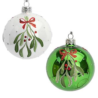 Single 8cm Assorted White or Green Mistletoe Design Mouth Blown Glass Christmas Baubles