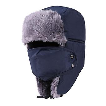 Ski Hat Cap With Face Mask Thicken Skiing Bibs