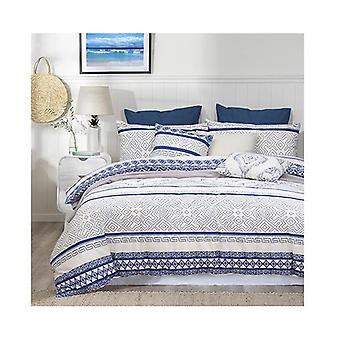Amsons Hampton Cotton Quilt Cover Set Cream Blue
