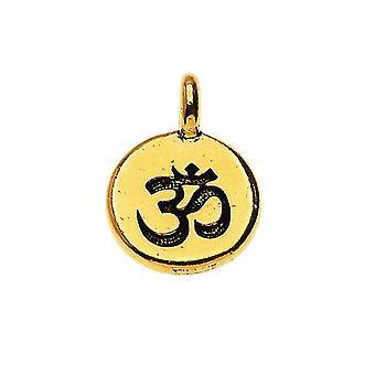 TierraCast Zinn charm, Rundes Om / Aum Symbol 16,5x11,5mm, 1 Stück, 22K vergoldet