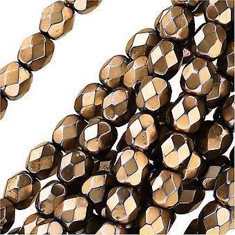Tšekkiläinen tuli kiillotettu lasihelmet 4mm pyöreä full pearlized - samppanja jet (50)