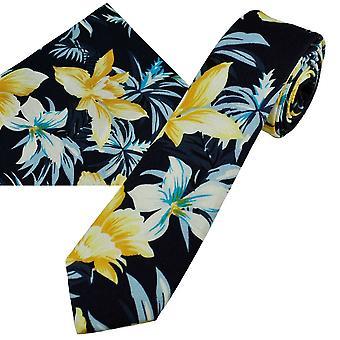 Ties Planet Navy keltaisella, valkoisella & taivaansinisessä narsissikukkakuvioisessa puuvillapoikien solmiossa & taskun neliön nenäliinassa