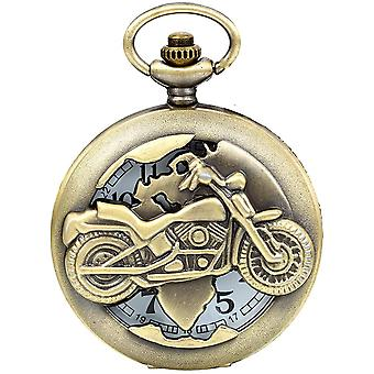 FengChun Vintage Bronze Motorrad Taschenuhr Herren Analog Quarz Uhr mit Halskette Kette Umhngeuhr