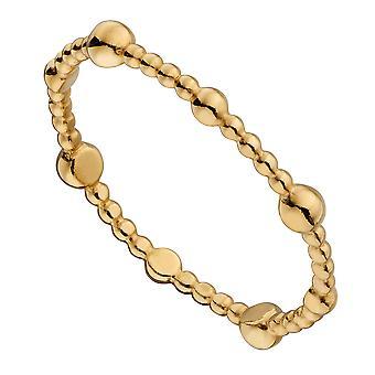 Elemente Silber 925 Sterling Silber Damen Vergoldet Zierliche Perlen Design Band Ring