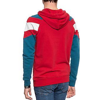 Wrangler mens kleur blok katoen Pullover lange mouw Sweatshirt hoodie-rood