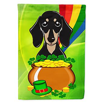 Caroline's Treasures Bb1959Chf Smooth Black and Tan Dachshund St. Patrick's Day Flag Canvas House, grande, multicolore