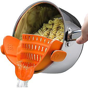 Orange universal silicone clip-on pot strainer colanders cai890