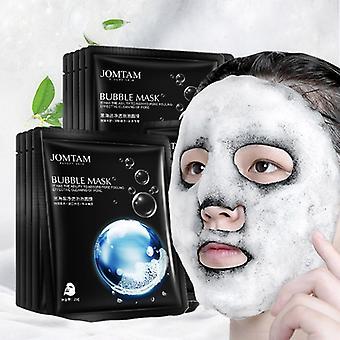 10pcs/20pcs/30pcs/lot Black Sea Salt Pure Moisturizing Bubble Facial Mask Deep Cleansing Oil Control Skin Rejuvenation Shrink Pore Foam Black Mask