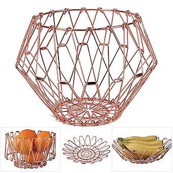 Panier de fruits Fil métallique transformable Panier de fruits Décoratif Flexible Stainess Acier Entrepôt Foldi télescopique
