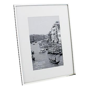 """4"""" x 6"""" - Impressions Silver Plated White Mount Photo Frame"""