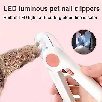LED Light Pet Nail Trimmer Anti-Blood Position Nail Clippers  Tool Pet Supplies(HGA006095-Pink)