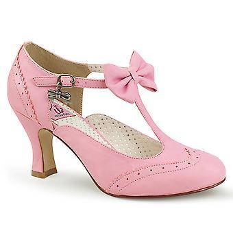 Pin mujeres's zapatos hasta cuero sintético rosa