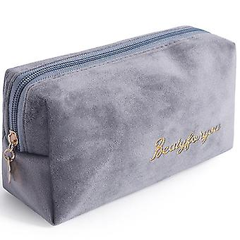 Portable velvet bronzing cosmetic bag large lipstick bag(Light Grey)